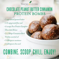 FUN FACT about the Young Living Essential Oils FRIDAY! Yes, you can use the Young Living therapeutic-grade essential oils in your favorite recipes! Here is a quick, protein-packed snack! Just combine these ingredients, scoop out by the tablespoon, ro Protein Snacks, Protein Ball, Healthy Snacks, Healthy Recipes, Healthy Cooking, Lean Recipes, Protein Recipes, Healthy Eats, Yummy Recipes