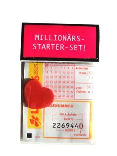 """Kleine Tüte mit großer Wirkung.    Für alle die vom Sucher zum Finder der großen Liebe geworden sind:    """"Millionärs-Starter-Set""""    Zaubern Sie ei..."""