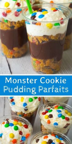 Monster Cookie Pudding Parfaits are a fun and easy no bake dessert perfect for summer. These colourful dessert cups are loaded with oatmeal peanut butter cookie dough, chocolate pudding and mini M&Ms. no bake desserts Parfait Desserts, Parfait Recipes, Kid Desserts, Easy No Bake Desserts, Pudding Desserts, Delicious Desserts, Pudding Recipes, Easy Desserts For Kids, Easy No Bake Cookies