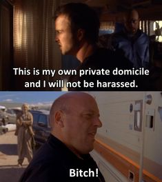 """This is my own private domicile and I will not be harassed! BITCH!""  Aaron Paul as Jesse Pinkman  Breaking Bad"