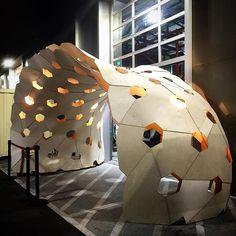 """Laser-cut plywood pavilion by riclamagna Parametric Architecture, Parametric Design, Architecture Design, Laser Cut Plywood, Laser Cutting, Temporary Architecture, Instalation Art, Geometric Construction, Temporary Structures"