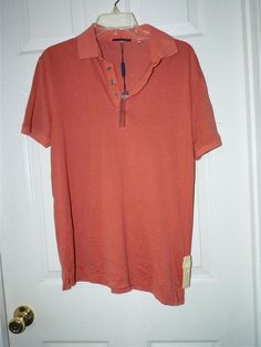 MEN'S Med ELIE TAHARI Salmon v-neck 1/2 button short sleeve collared shirt NWT #ElieTahari #PoloRugby