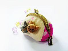 Coin purse / Cat purse / Metal frame purse / 8.5 cm ♥ by DooDesign, $26.90