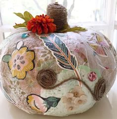 What a beautiful way to decorate a pumpkin!! Don't miss this gorgeous Pumpkin Decorating Cocktail Party! See more party ideas and share yours at CatchMyParty.com #pumpkin #decorations