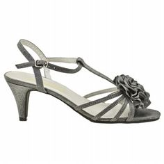 cute pewter satin shoes.     a little bit shiny, goes great with our charcoal gray luminescent chiffon jim hjelm bridesmaid dresses