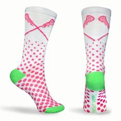 Sundae Neon Series Lacrosse Socks (White, Pink, Green) - Lax Girls LOVE our socks!  Super comfy and fashionable socks.  We design our socks with high tech function, comfort and style.