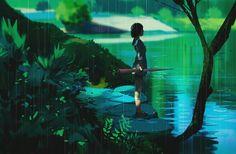 Garden of the words of on DeviantArt Jardin des mots de sur DeviantArt / Deviant Art, Ghibli, The Garden Of Words, Digital Art Anime, Anime Art, Environment Design, Anime Sketch, Environmental Art, Anime Scenery