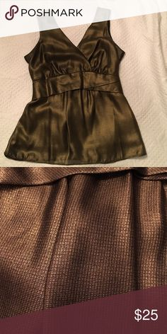 Gold blouse Blouse, gold sheer fabric, fully lined. Ties in back.  Worn 1x Ann Taylor Tops Camisoles