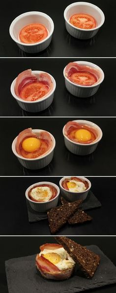 Brunch eggs in oven-Brunch æg i ovn Great recipe for eggs baked in the oven with … - I Love Food, Good Food, Yummy Food, Tapas, Kreative Snacks, Food Porn, Food Inspiration, Breakfast Recipes, Cooking Recipes