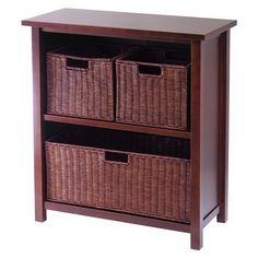 "$111 Target 30""HX28""W 3-Tier Storage Shelf with 3 Baskets - Walnut -Alternate Smaller Option in Sunroom"