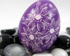 Pysanky, Pisanki, Ukrainian Egg, Polish Easter Egg, Skrobanki, Easter Egg, Ukrainian Easter Egg, Scratched Egg, Pysanky Egg, Purple Floral