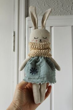 Bunny doll with green dress Organic toy Eco-friendly baby Etsy Baby Sewing Projects, Sewing Crafts, Diy Bebe, Fabric Toys, Bunny Toys, Cat Doll, Cute Toys, Soft Dolls, Stuffed Toys Patterns