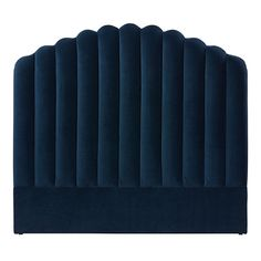 The Ariel bedhead is upholstered in a padded velvet fabric curving around in a unique shell shaped design. Cheap Diy Headboard, Bed Headboard Design, Bedroom Bed Design, Home Room Design, Home Bedroom, Velvet Furniture, Bedroom Furniture, Navy White Bedrooms, Australian Home Decor