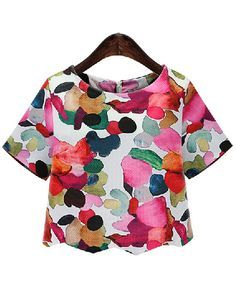 SheIn offers Ikat Neat Awesome Calico Print Crop Blouse & more to fit your fashionable needs. Crop Blouse, Floral Blouse, Blouse Online, Everyday Look, Stylish Outfits, Dress To Impress, Chiffon Tops, Fashion Dresses, Women's Fashion