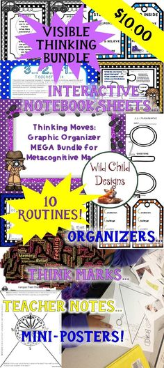 What teacher doesn't wish her students could explain their thinking? Metacognition is where it's at. This bundle will help you with that task. Comprised of organizers, think marks, mini-posters, and interactive notebook sheets for 10 thinking routines, i Interactive Activities, Interactive Notebooks, Math Activities, Teaching Resources, Teaching Ideas, Secondary Resources, Writing Resources, Classroom Organization, Classroom Management