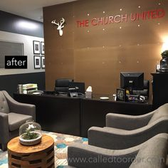 Custom Signs for Called To Order Reception Signs, Reception Areas, Masculine Office, Office Lobby, Office Signs, Wall Treatments, Woodland, The Unit, Organization