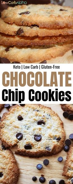 Keto almond flour chocolate chip cookies. Easy low carb and gluten-free recipe #lowcarb #keto #lchf #lowcarbalpha