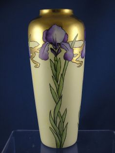 "Limoges Blank Art Nouveau Iris Motif Vase (Signed ""I. Mosk""/Dated from darkflowers on Ruby Lane"