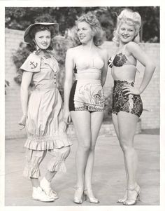 Array of swimwear styles, circa the 1940s