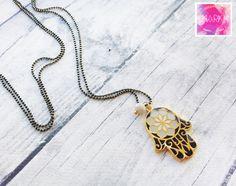 Long necklace hamsa necklace boho necklace pendant by MarKiJewelry