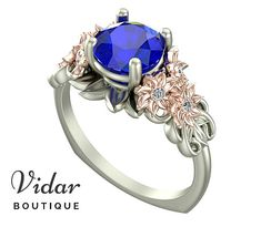 Flower Engagement Ring,Unique Engagement Ring,Two Tone White Rose Gold Blue Sapphire 1.5 Carat Ring By Vidar Botique,Vintage Leaves Rings