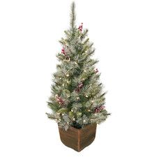 """Alpine Entryway 48"""" Green Artificial Christmas Tree with 70 Clear Lights with Pot"""