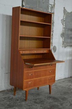 Swedish Mid-Century Modern Mahogany Desk and Hutch image 4