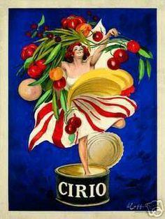 """51"""" VINTAGE ITALIAN FOOD PRINT - CIRIO by Leonetto Cappiello"""