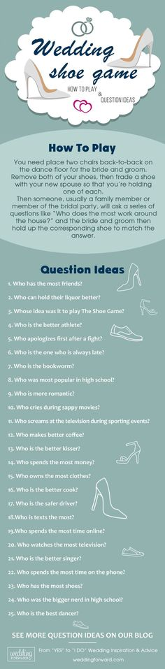 The Shoe Game And#8211; How To Play Andamp; Question Ideas ❤️ See more: http://www.weddingforward.com/shoe-game-how-to-play-question-ideas/ #weddings