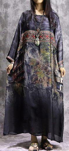 Ethnic O-Neck Long Sleeve Print Loose Maxi Dress