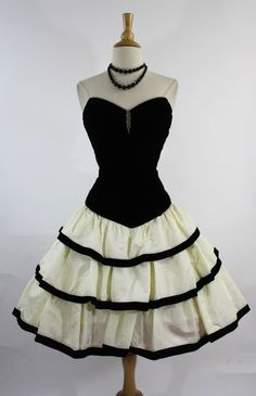 Vintage 1980s Black Velvet Sweetheart Tiered Trophy Prom Party Dress s M | eBay