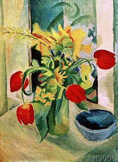 August Macke - Stilleben mit Tulpen