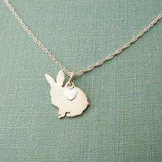 Bunny lapin collier argent Sterling personnaliser par DiBAdog