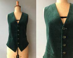 Vintage 1960s Green Velvet Waistcoat / Vest  #etsy #vintagewaistcoat #vintagevest #40sstylewaistcoat #60swaistcoat #vintagemens #velvetwaistcoat Black Denim Skirt, 40s Fashion, Cotton Velvet, Green Velvet, Grey Stripes, Olive Green, 1960s, Vest, Sweaters