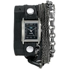 La Mer Collections Women's LMMULTI7000 Carerra Stainless Steel Watch... ($148) ❤ liked on Polyvore featuring jewelry, watches, wrap watches, black square face watches, leather wrist watch, chain watches and nickel free watches