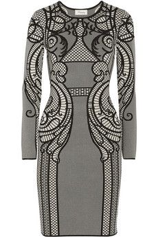 Temperley London Lavinia intarsia stretch-knit dress   NET-A-PORTER
