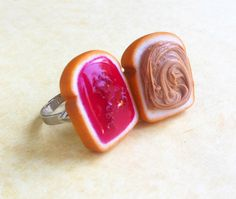 polymer clay strawberry jam peanut butter and jelly best friend rings bff polymer clay op Etsy, 11,11 €