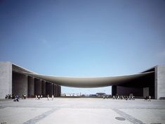 Monolithic sides and tensile fabric awning, great contrast Canopy Architecture, Chinese Architecture, Futuristic Architecture, Facade Architecture, Landscape Architecture, Gate Way, Memorial Museum, Entrance Gates, Concrete Blocks
