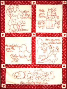 redwork patterns. pattern, quilt, redwork, stitchery, quilts, CleoAndMe.com