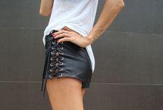 Leather shorts. http://www.ibizachiccomplements.com/