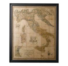 Making Spirits Bright   A vintage map of Paris and Stanford's 1859 map of Italy (pictured) are sure to inspire wanderlust in restless globetrotters, from $1,350, at Restoration Hardware, Fashion Island. (949-760-9232; rh.com) #holiday #gifts #guide #travel #maps #italy #home #decor #resortation #hardware