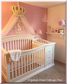 Bella Rose Bed Crown French Ivory Distressed Baby Girl Rooms, Girl Nursery, Nursery  Room