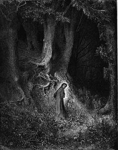 Gustave Dore illustration from the beginning of Dantes Divine Comedy