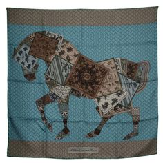 Hermes Brown & Turquoise Horse Shoe Print 90cm Silk Scarf | From a collection of rare vintage scarves at https://www.1stdibs.com/fashion/accessories/scarves/