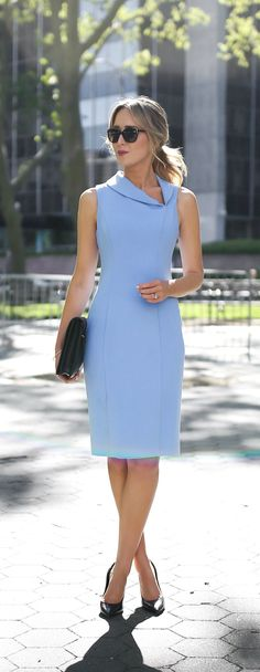 classic periwinkle blue knee length sheath dress with asymmetrical shawl collar neckline // summer business formal workwear, office style #dressescasualspring
