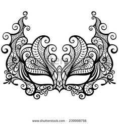 Gorgeous lace masquerade mask isolated on white background. Vector illustration
