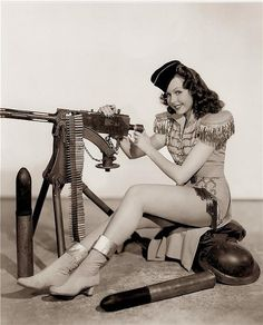 Machine gun pin-up girl.