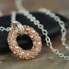 Rose gold pave o ring necklace on sterling silver chain