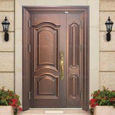 Wooden Main Door Design, Double Door Design, Door Design Images, Half Doors, House Doors, Side Door, Steel Doors, Entrance Doors, Exterior Doors