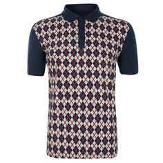 - Nifty Printed Argyle Polo Shirt -
